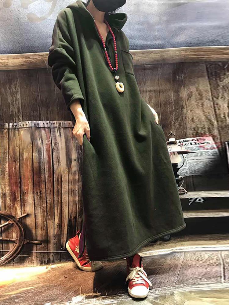 S-5XL Women Hooded Long Sleeve Button Split Casual Loose Sweatshirt Dresses