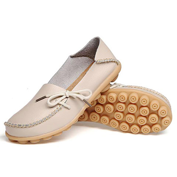 US Size 5-13 New Women Soft Comfortable Lace-Up Flat Loafers Breathable Casual Leather Flats Shoes