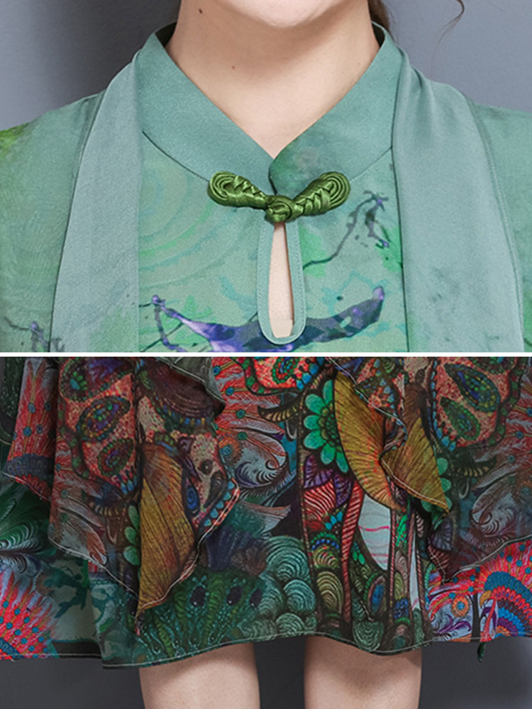 Elegant Floral Print Two Pieces Chinese Style Vintage Dress