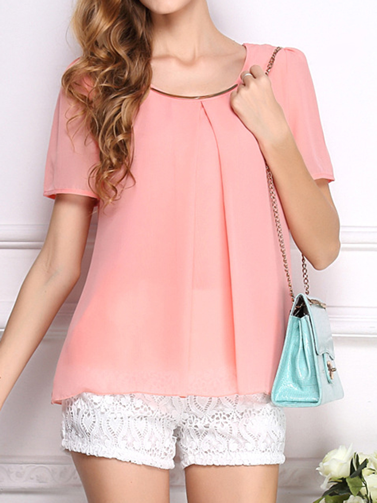 Casual Women Short Sleeve Pure Color O-neck Chiffon Blouses