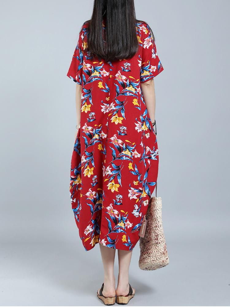 Floral Print O-Neck Short Sleeve Baggy Dress For Women