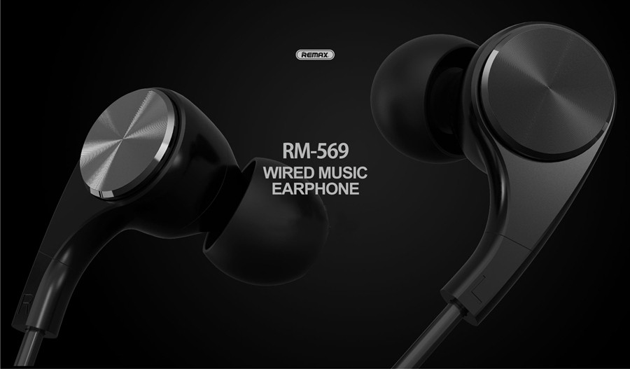 REMAX RM569 3.5mm Plug Wired Control Noise Cancelling Bass Earphone With Mic