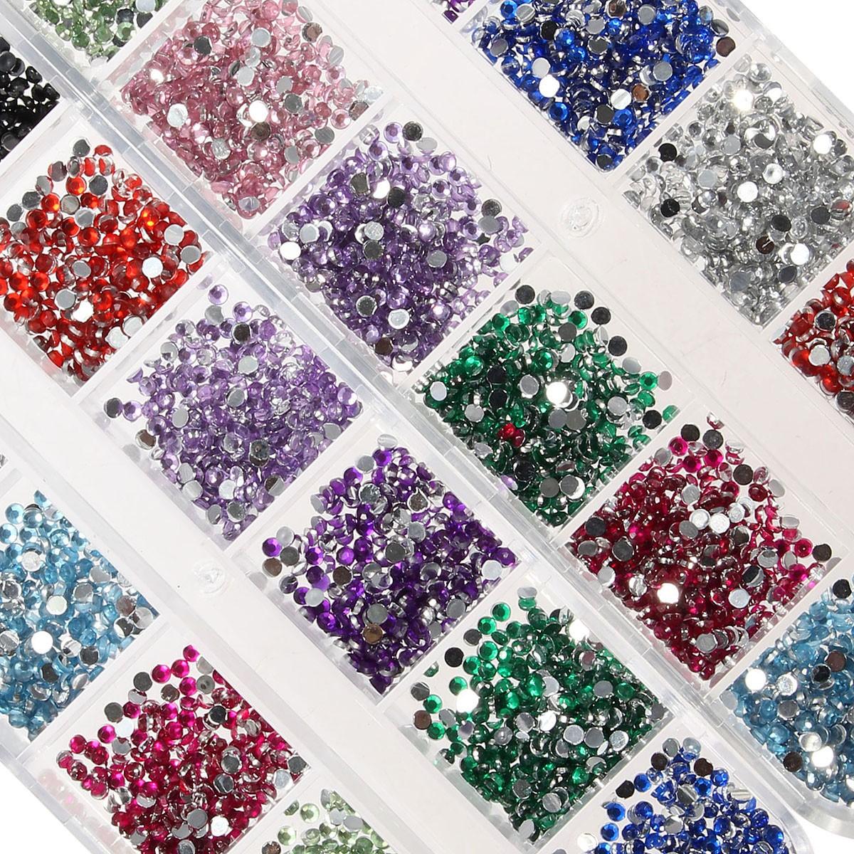 Multicolored Nail Art Decoration Rhinestone Waxed Picker Pencil Case Set Manicure Accessories