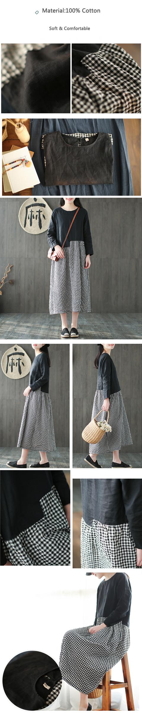 Casual Women Plaid Patchwork O-neck Long Sleeve Dresses