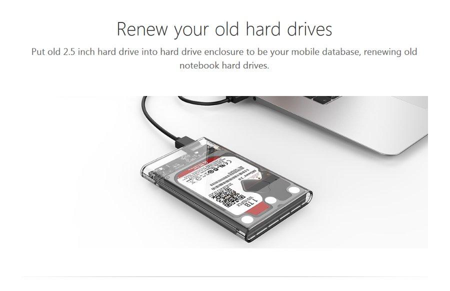 ORICO 2139U3-CR 2.5 inch Transparent USB3.0 HDD Hard Drive Enclosure Storage Case 28