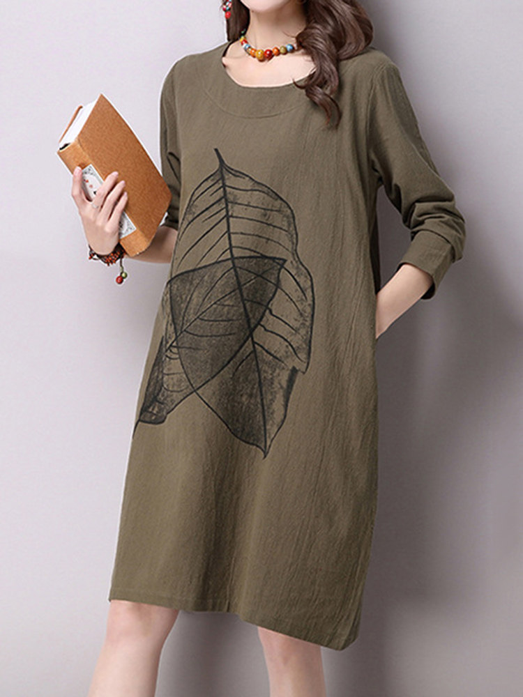 Elegant Women Leaf Printing Pocket Cotton Linen A-line Dress