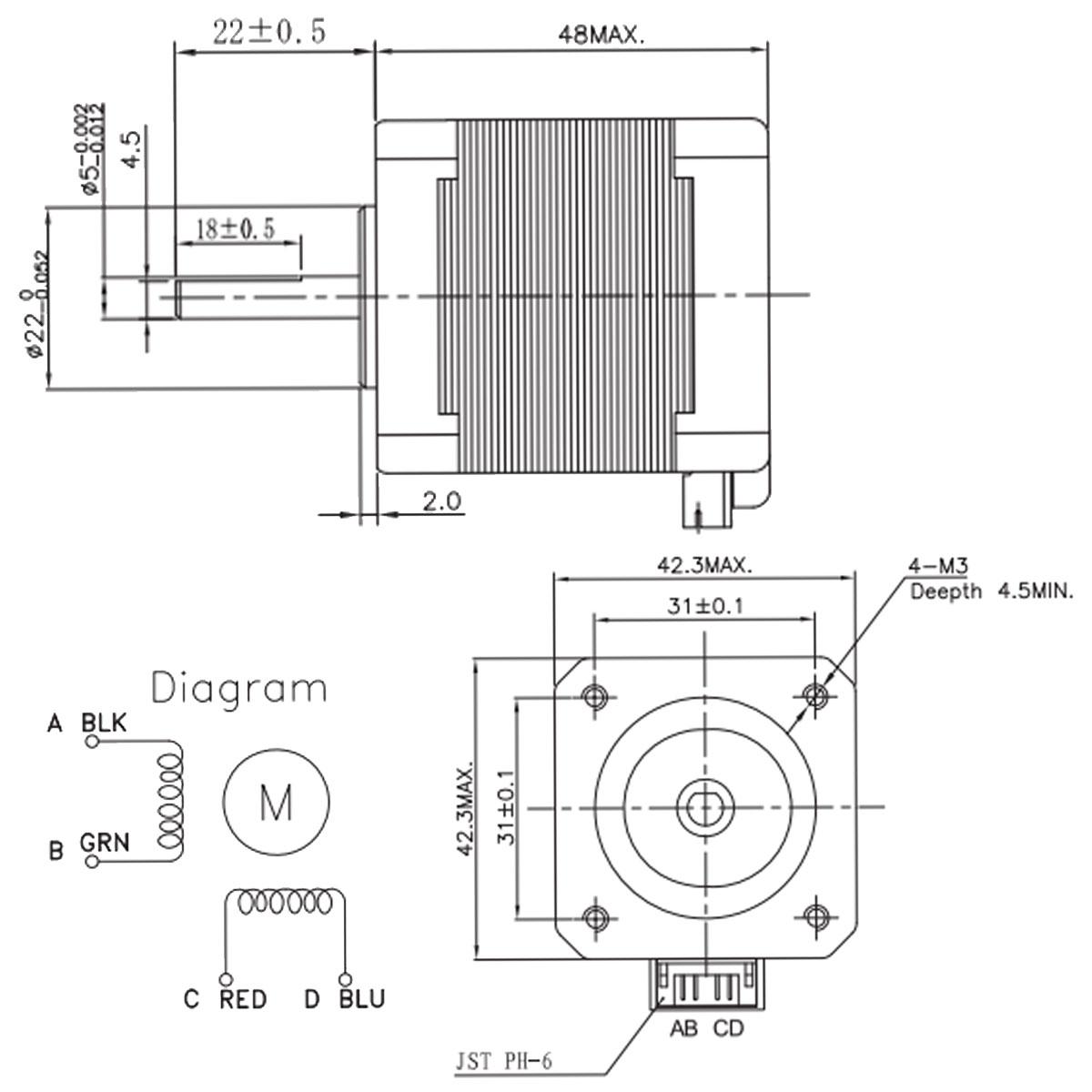 Nema17 59ncm 2a 1 84 Lead 48mm Stepper Motor For 3d Printer Cnc