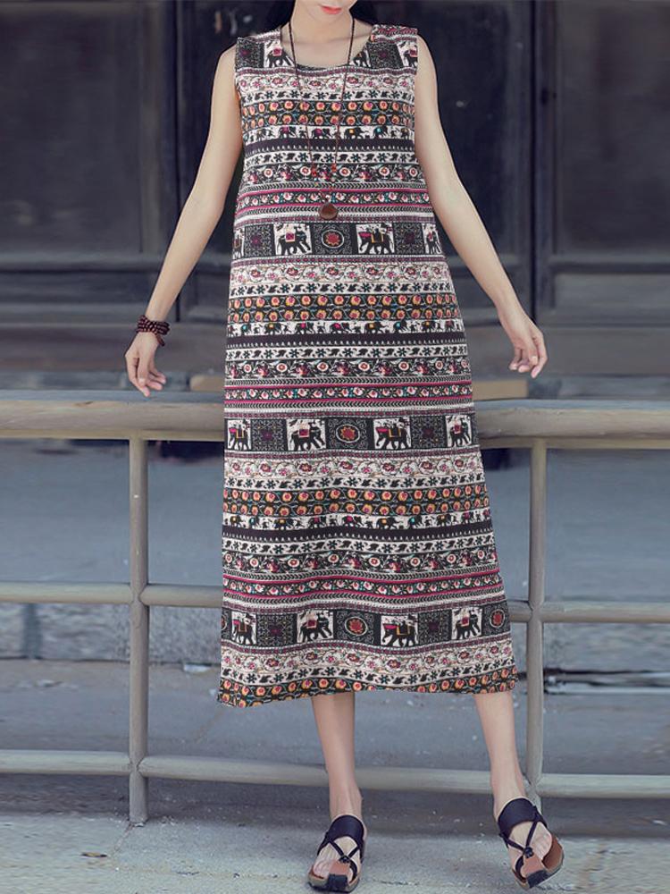 Women Sleeveless Cotton Sundress Boho Floral Dress