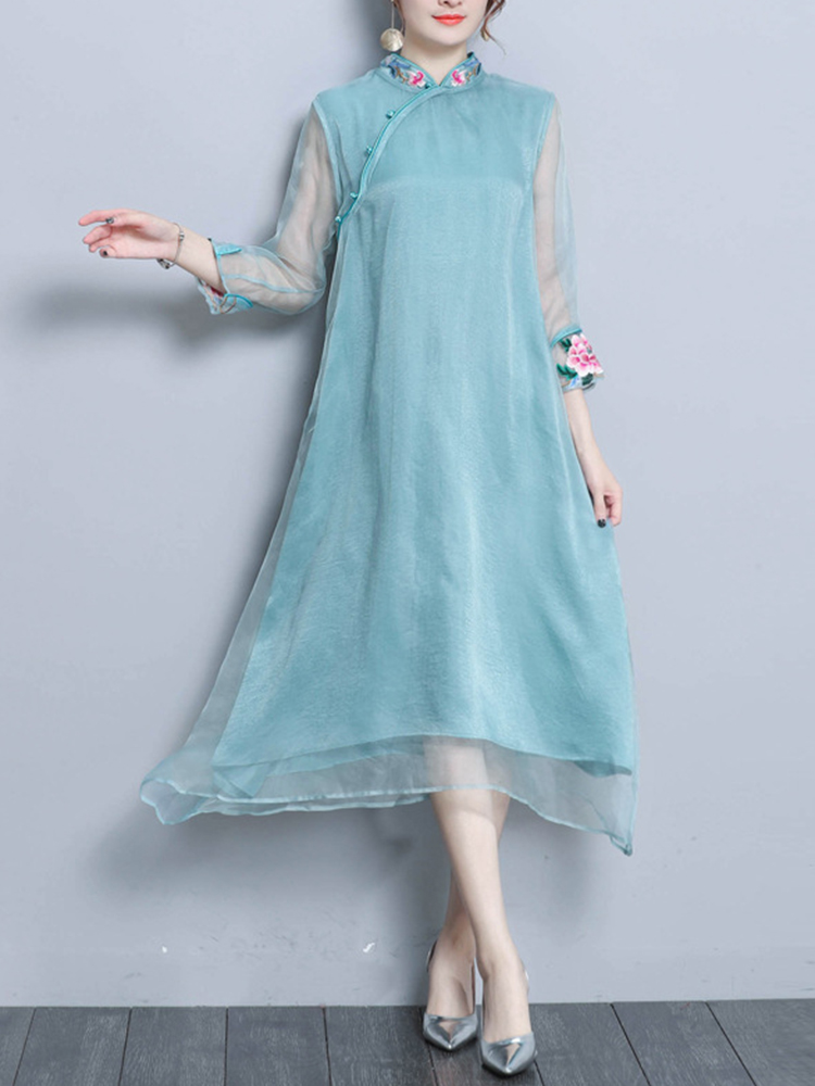 Vintage Embroidery Sleeve Patchwork Chinese Style Irregular Dress