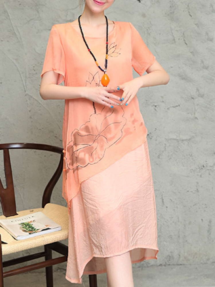 Elegant Floral Printed O-Neck Short Sleeve Irregular Hem Dress For Women