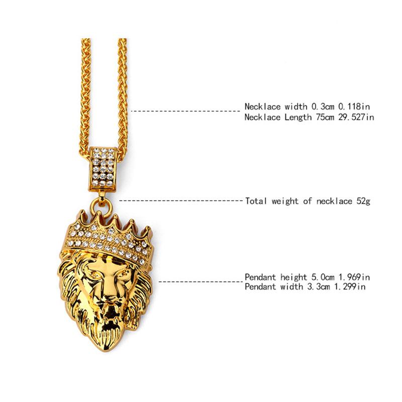 Hip hop fashion gold chain king crown lion head pendant necklace for hip hop fashion gold chain king crown lion head pendant necklace for men aloadofball Gallery