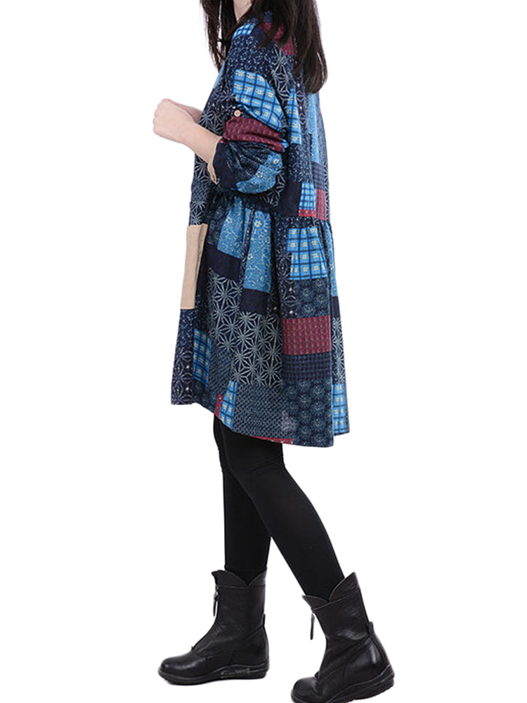 Vintage Women Plaid Color Block Printed Cotton Linen Dress