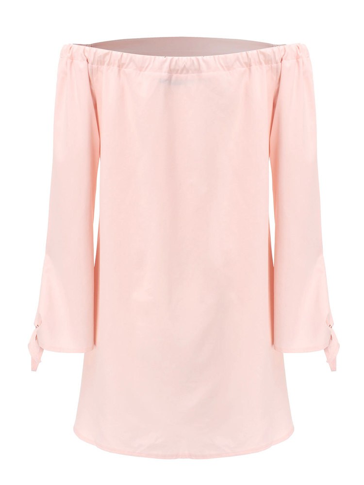 Sexy Off Shoulder Loose Pure Color Long Sleeve Women Shirts