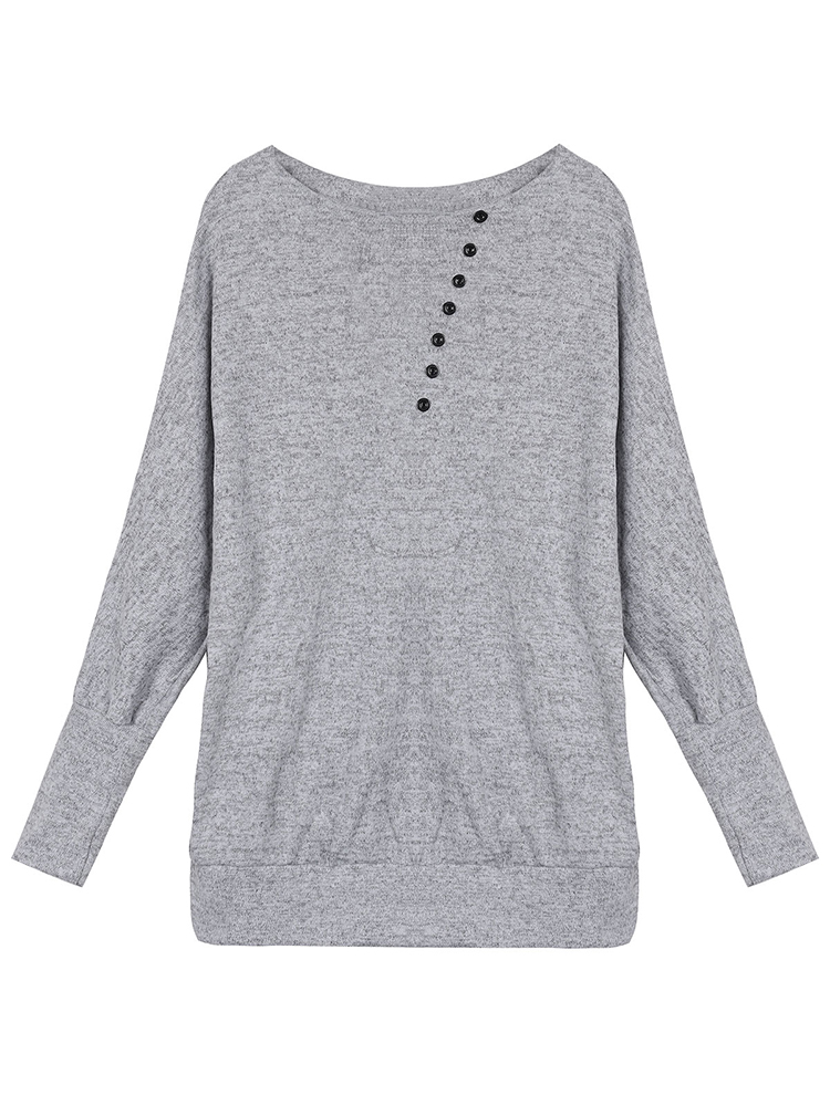 Gray Button Batwing Sleeve T-Shirt