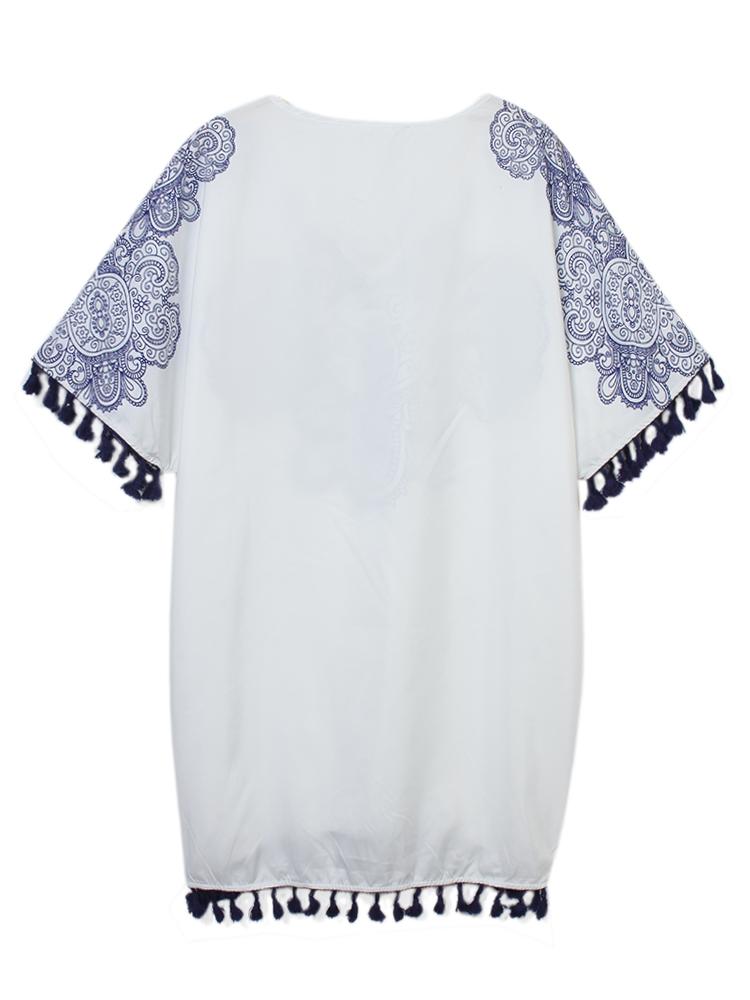 Vintage Women V Neck Pattern Printed Tassel Beach Mini Dress