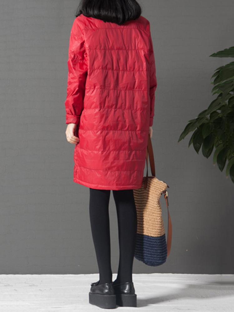Casual Women Pure Color Padded Windproof Long Sleeve Dresses