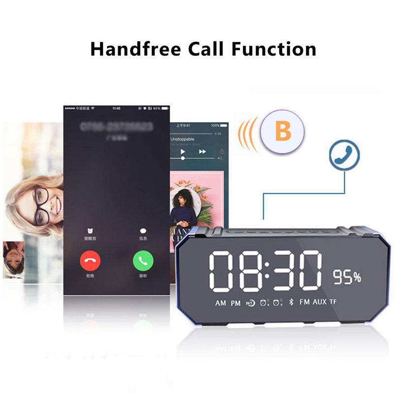 Wireless Bluetooth 4.2 Speaker Subwoofer Dual Clock Setting Support FM TF USB Handfree Call 11