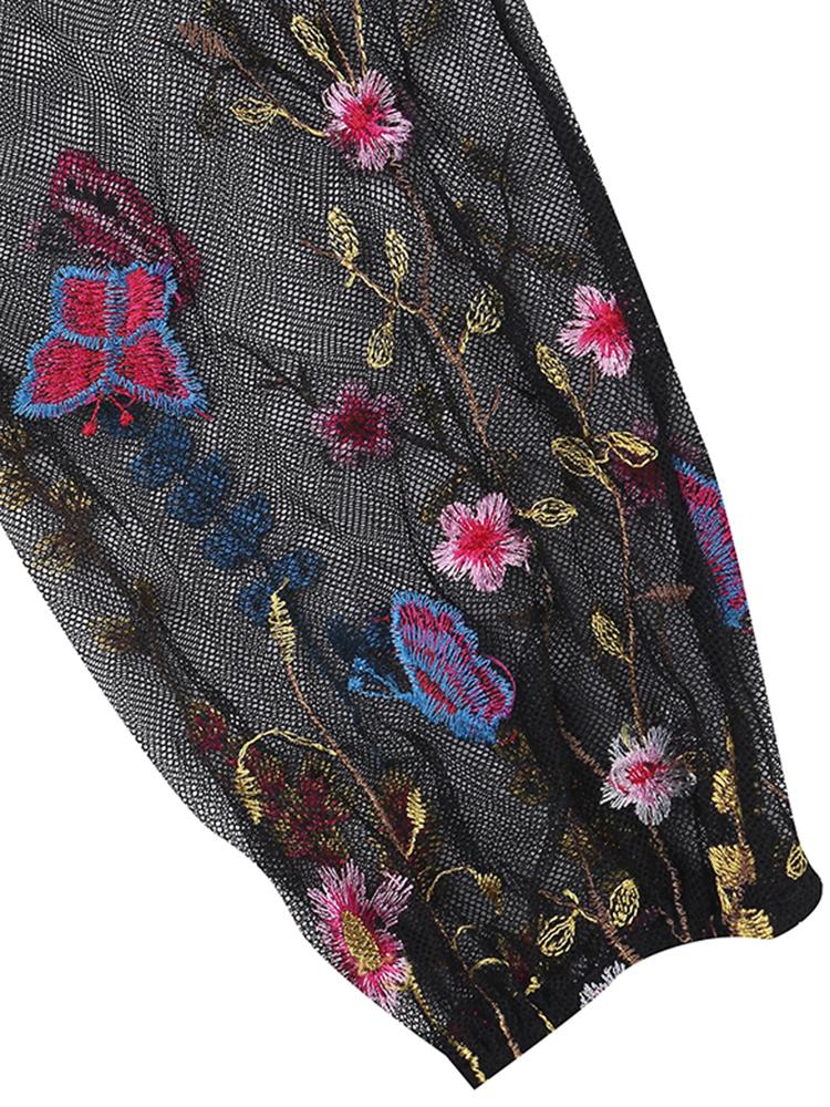 Sexy V-Neck Floral Embroidered Side Split Mesh Midi Dress For Women