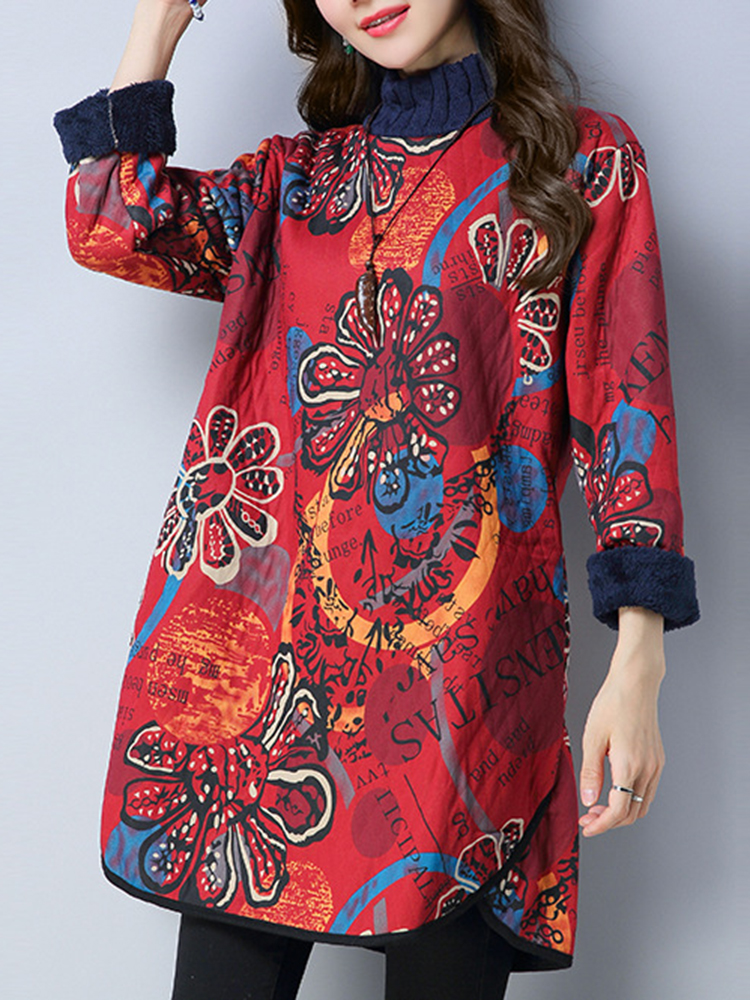 Vintage Women Floral Printed Thicken Mini Dresses