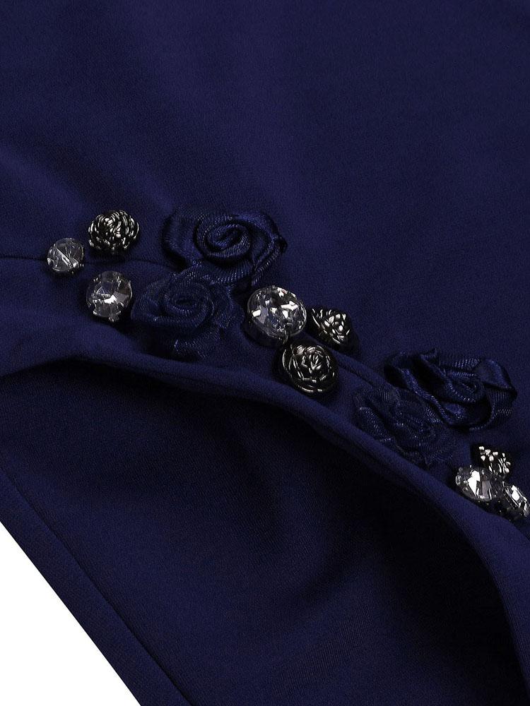 V Neck Pocket Bead Patchwork Dress