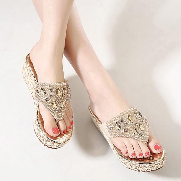 Women Summer Beach Outdoor Casual Fashion Diamond Wedge Sandals Comfortable Slipper Shoes