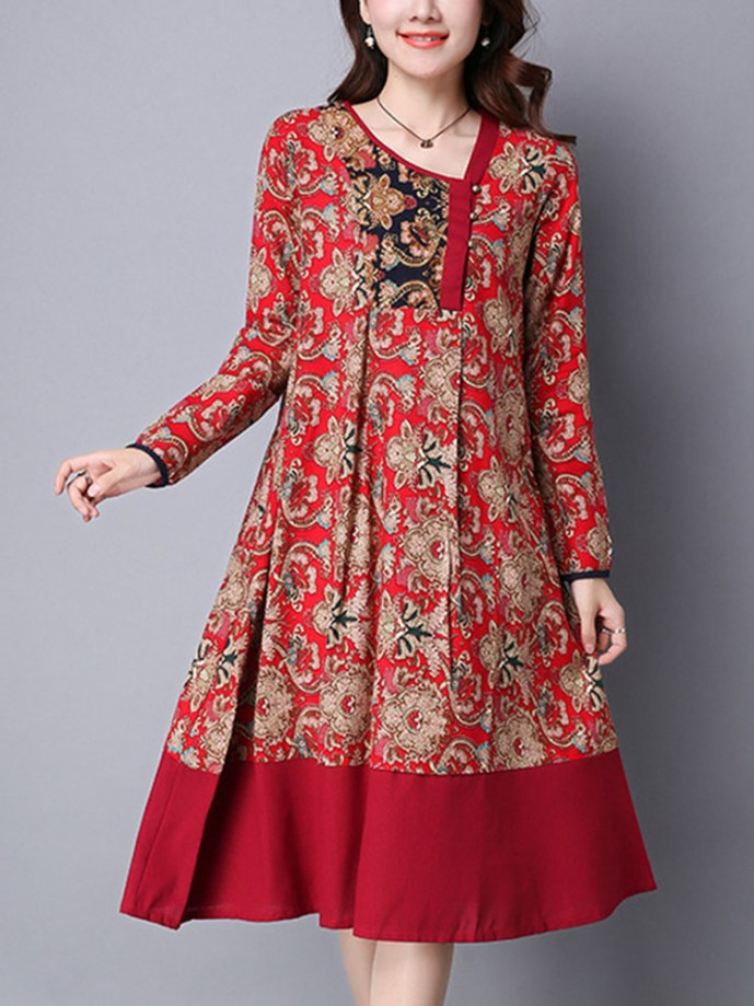 Ethnic Floral Printing Patchwork Hem Long Sleeve Loose Dress