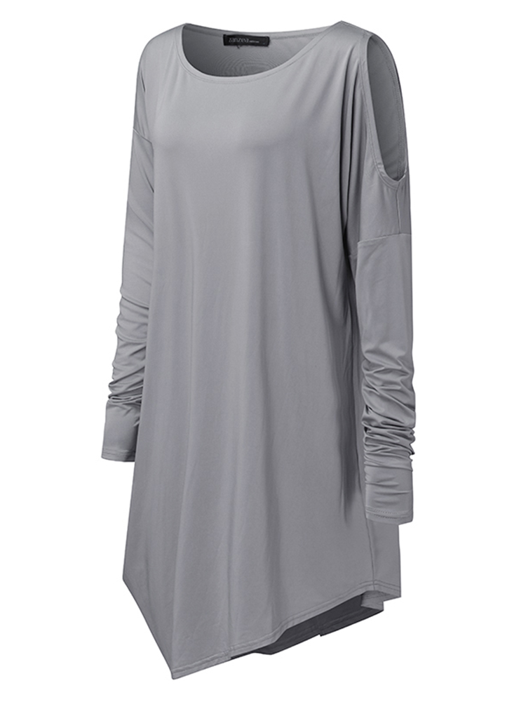 Sexy Women Cold Shoulder Long Sleeve Asymmetric Party Mini Dress