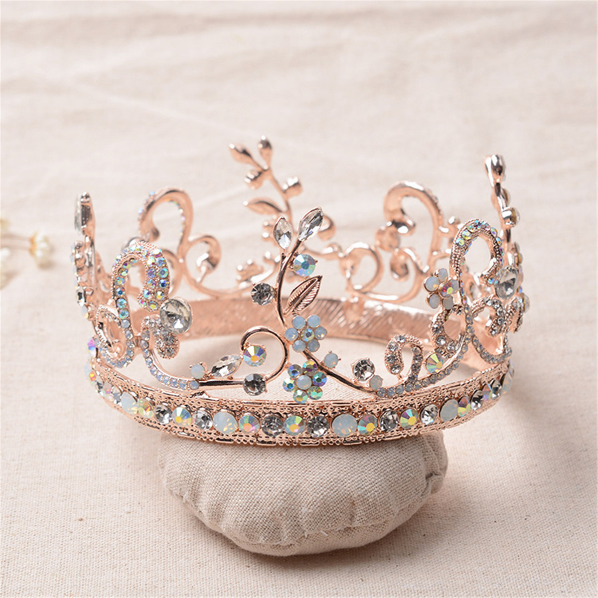 Bride Rose Gold Flower Leaf Crystal Diamond Wedding Bridal