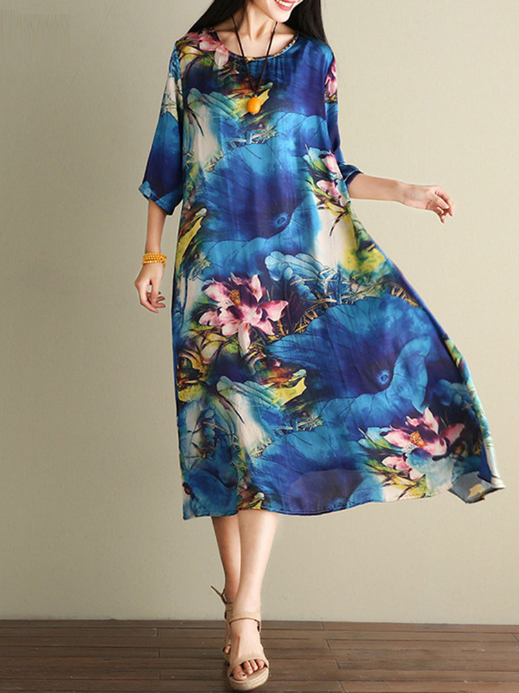 Floral Print Loose O-neck Casual Half Sleeve Women Dress