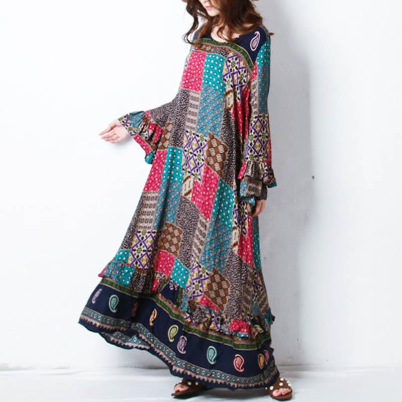 Retro Women Random Printed Patchwork Boho Maxi Dress