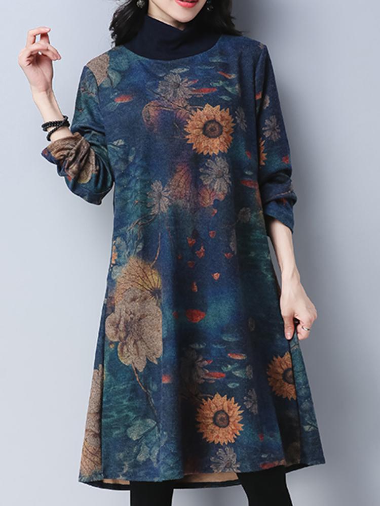 Folk Style Floral Print Long Sleeve High Collar Loose Women Dresses