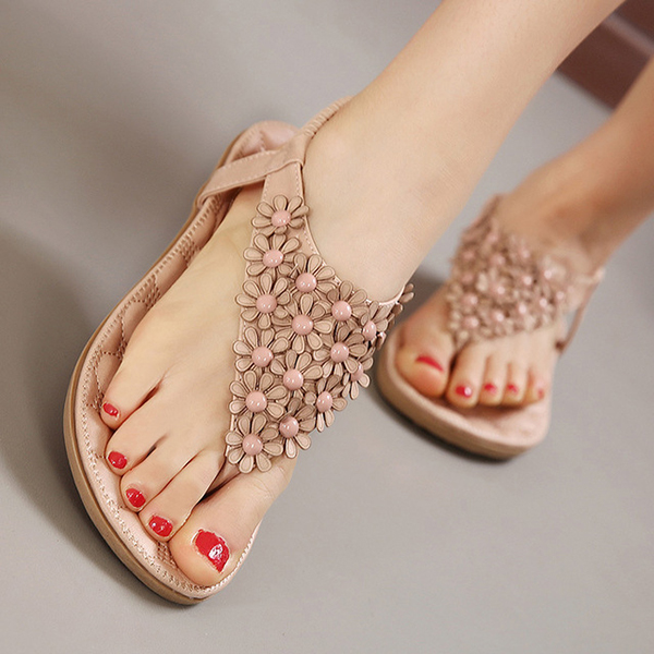 Women New Flowers Lovely Summer Comfortable Beach Outdoor Flat Sandals Shoes