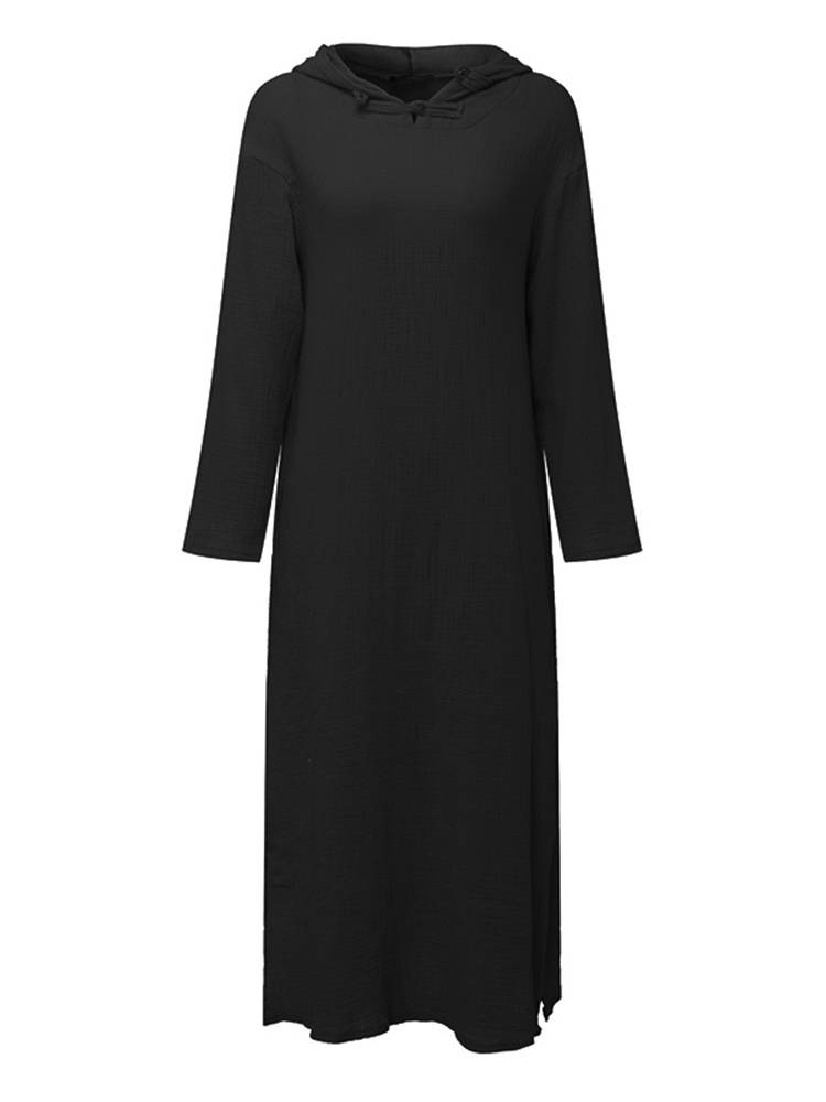 Casual Loose Solid Color Long Sleeve Women Hooded Dress