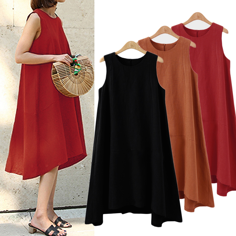 Casual Sleeveless Loose Solid Color Asymmetric Dress