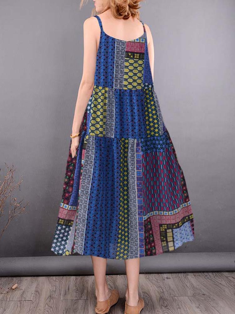 Bohemian Sleeveless Strap Mid-long Floral Dress