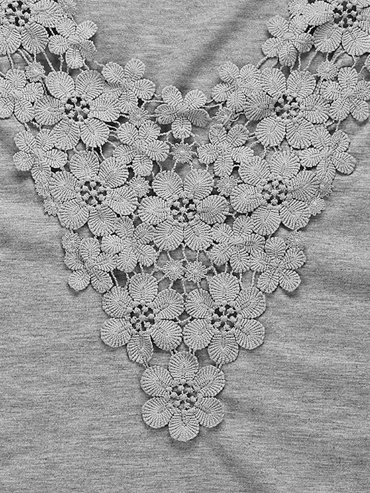 Lace V Neck T-Shirt