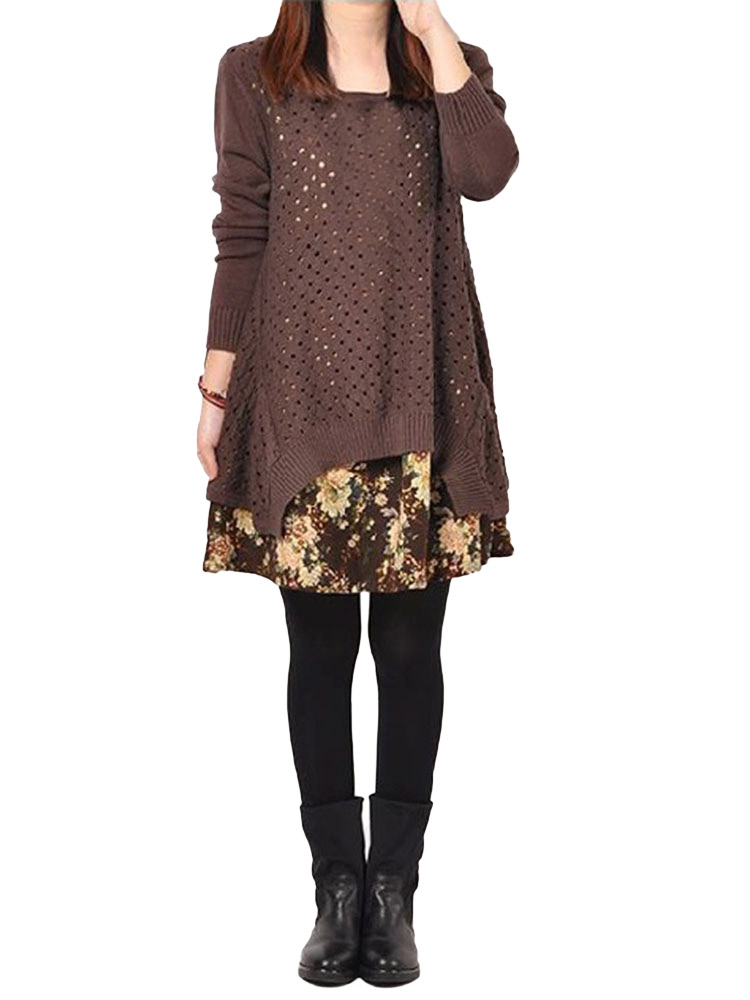Loose Coffee Printed Two-piece Knitted Dress