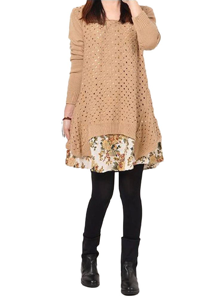 Loose Apricot Printed Two-piece Knitted Dress