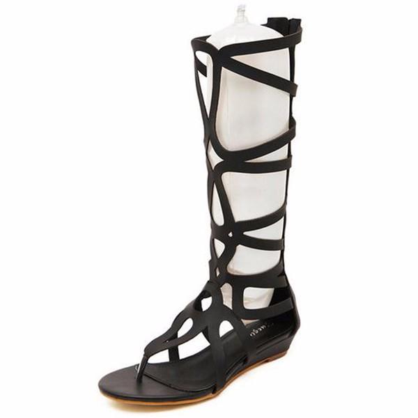 Women Summer Fashion Outdoor Bohemia Gladiator Flat Knee High Zipper Sandals Shoes