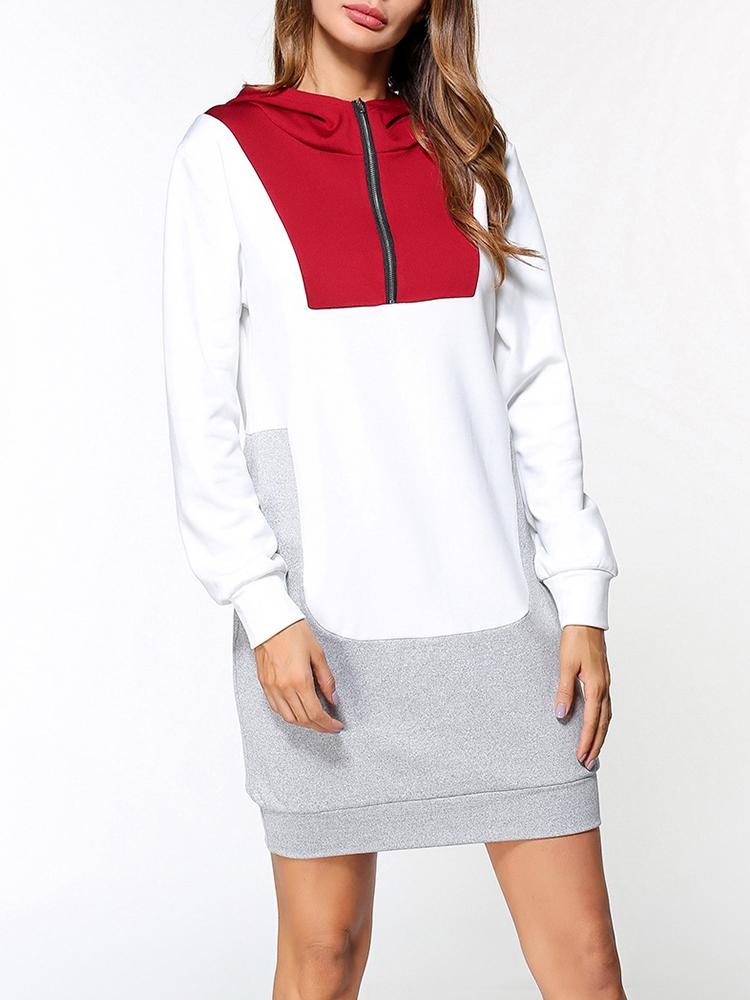 Casual Women Color Block Quarter Zip Hooded Sweatshirt Dress