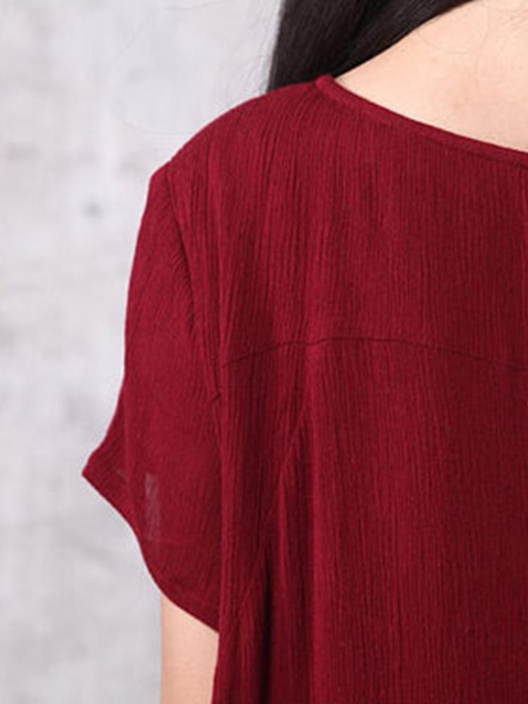 Casual Women O-Neck Pure Color Irregular Hem Midi Dress