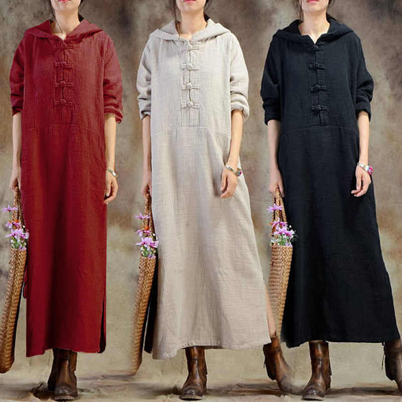 Women Long Sleeve Hooded Pure Color Split Vintage Maxi Dresses