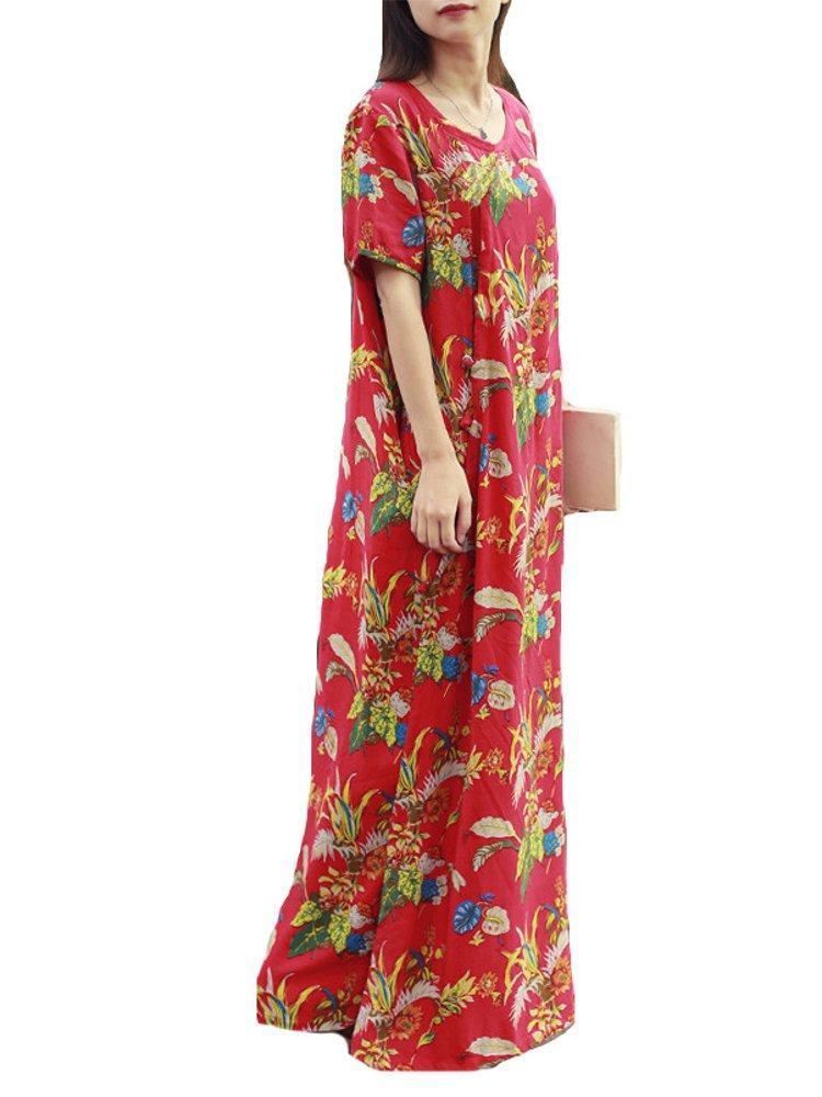 ZANZEA Women Casual Short Sleeve V-Neck Loose Floral Maxi Dresses