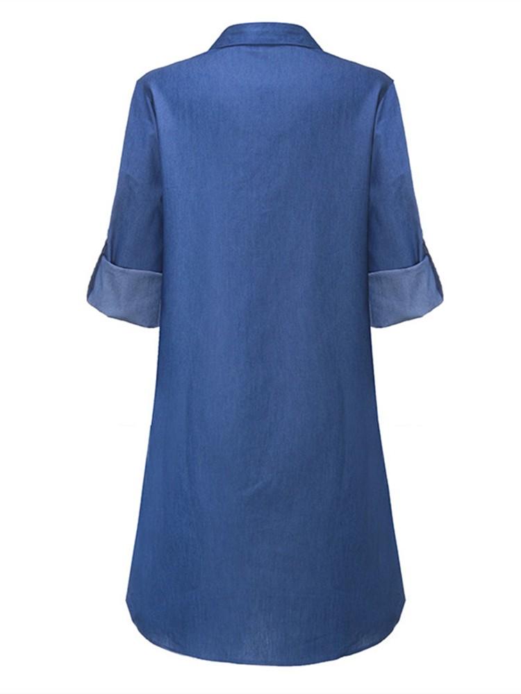 Sexy Women Long Sleeve V-Neck Bandage Lace Up Denim Mini Dresses