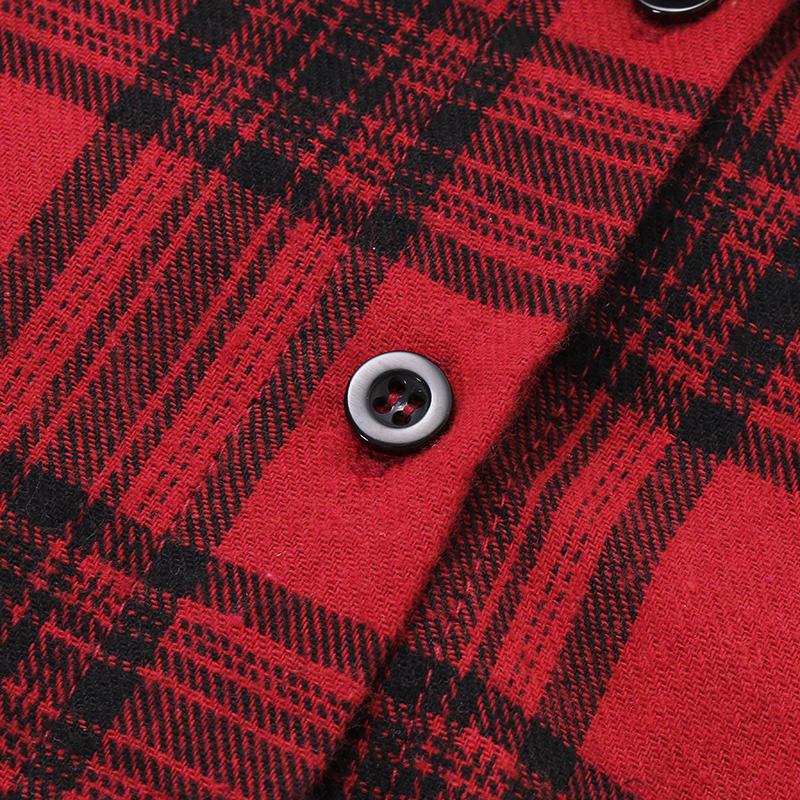 Women Casual Long Sleeve Buttons Drawstring Waist Plaid Shirt Dresses