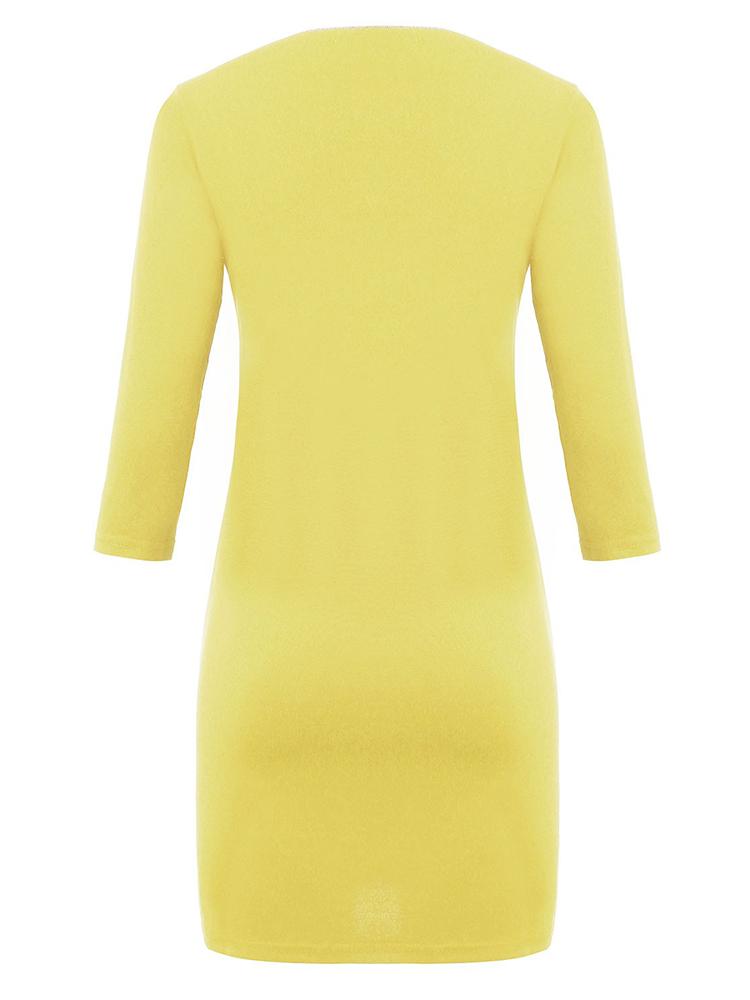 Women Yellow Three Quarter Sleeve Solid Dress