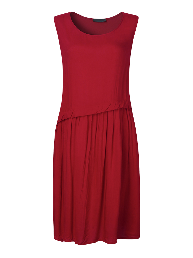 Casual Women Pure Color Pleated Patchwork Cotton Linen Dress