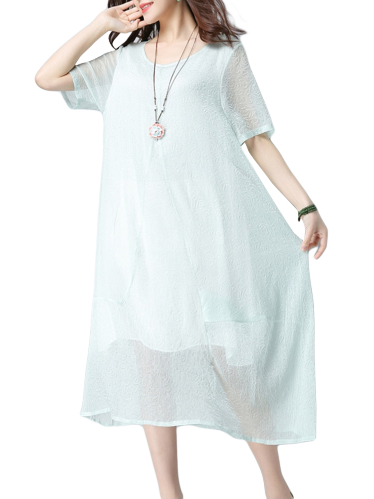 Vintage Women Scoop Neck Half Sleeve Pure Color Midi Dress
