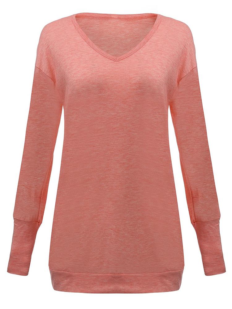 Pink Pocket Solid Long Sleeve Dress