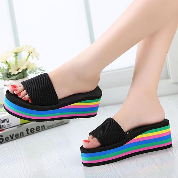 0f8abfe97 Women Casual Flip Flops Foam Beach Sandals Rainbow High Platform ...